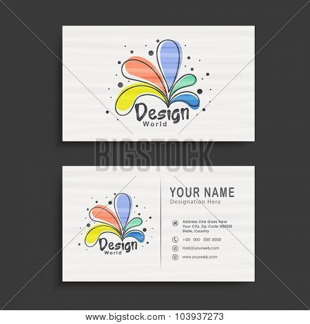 Colorful floral decorated, horizontal business card, name card or visiting card set on grey background.