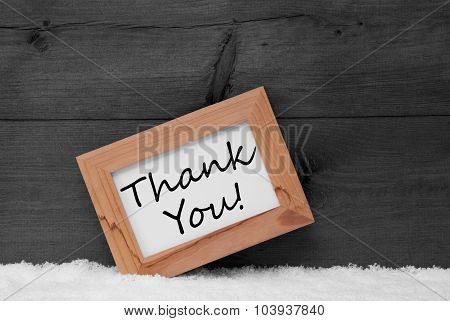 Picture Frame With Gray Background, Thank You, Snow