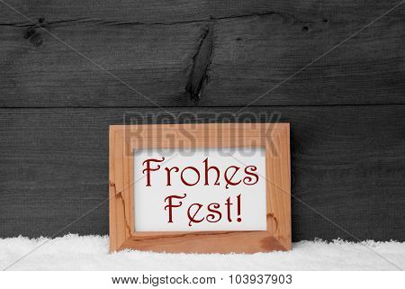 Gray Frame, Frohes Fest Means Merry Christmas, Snow