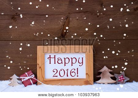 Frame With Christmas Decoration, Snow, Happy 2016, Snowflakes