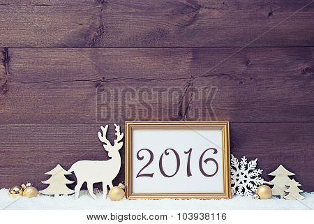 Vintage White And Golden Christmas Card, Snow, 2016
