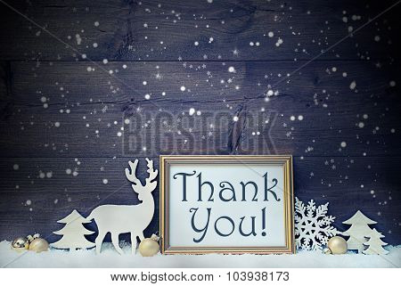 Vintage White And Golden Christmas Card, Snowflakes, Thank You