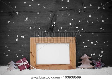 Gray Card With Frame And Red Decoration, Copy Space, Snow