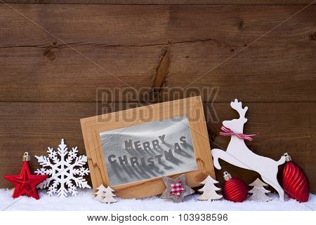 Red Christmas Card On Snow, Merry Christmas, Reindeer And Ball
