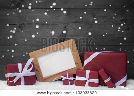 Red,Gray Christmas Decoration, Gift, Snow, Copy Space, Snowflake
