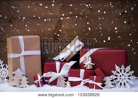 Red Christmas Gifts And Decoration With White Ribbon, Snowflakes