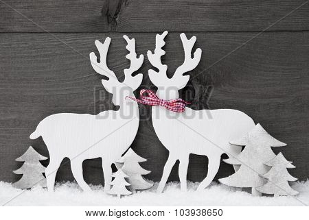 Gray Christmas Decoration, Reindeer Couple In Love, Snow, Tree