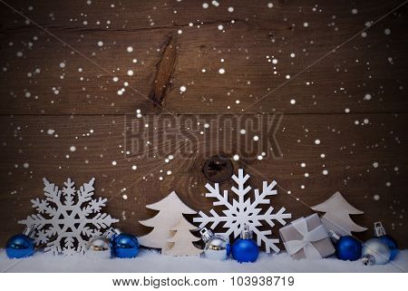Blue Christmas Card With Decoration, Copy Space, Snowflake, Snow
