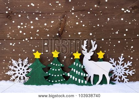 Christmas Decoration, Reindeer, Snow, Green Tree, Snowflakes