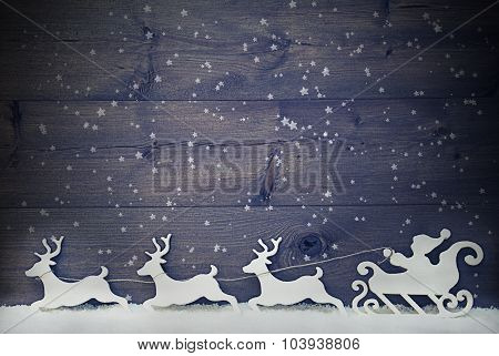 White Vintage Santa Claus Sled, Reindeer, Snow, Copy Space, Star