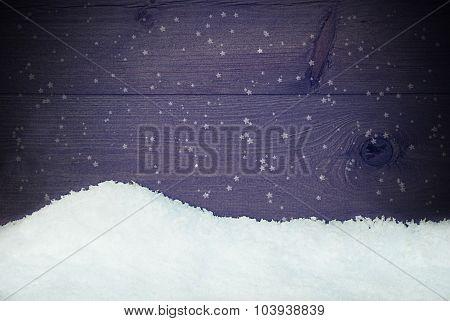 Wooden Background With Snow, Vintage Style, Snowflakes