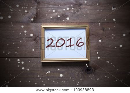 Golden Picture Frame With 2016 And Snowflakes