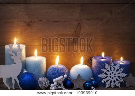 Christmas Card With Blue Candles, Reindeer, Ball