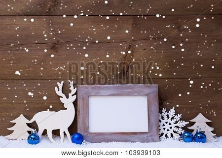 Christmas Card With Blue Decoration, Copy Space, Snow, Snowflake
