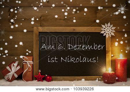 Card, Blackboard, Snowflakes, Nikolaustag Mean Nicholas Day