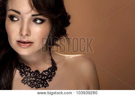 Beauty Portrait Of Sensual Brunette Woman.