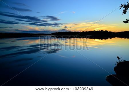 Northern White Nights On The Lake Pongoma. Karelia, Russia