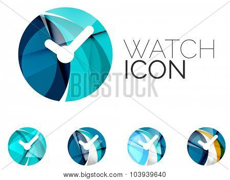 Set of abstract watch icon, business logotype concepts, clean modern geometric design. Created with transparent abstract wave lines