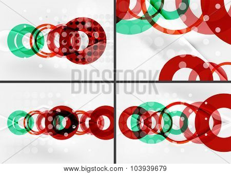 Set of circle shape design abstract backgrounds with light effects and decorations. Banner advertising layouts - colorful templates and wallpapers