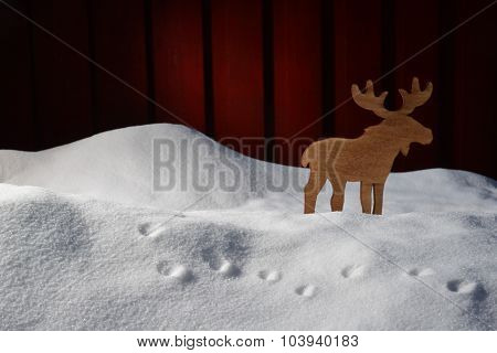 Christmas Card On White Snow With Moose And Copy Space