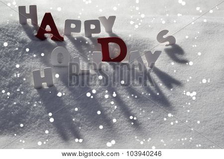 Christmas Card With White And Red Letters, Happy Holidays, Snow