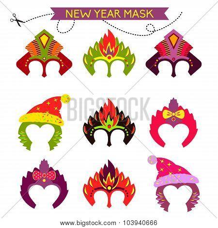 Gorgeus Set of colorful mask christmas monkey. Hand drawn mask f