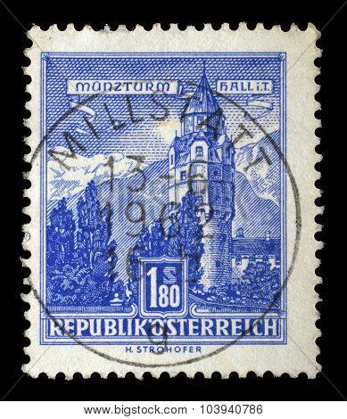 AUSTRIA - CIRCA 1960: A stamp printed in Austria shows Munzturm hall in Tirol, series, circa 1960