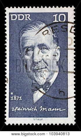 GDR - CIRCA 1971: A stamp printed in GDR shows Heinrich Mann(1871-1950), writer, circa 1971
