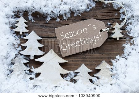 Label Christmas Trees And Snow Seasons Greetings