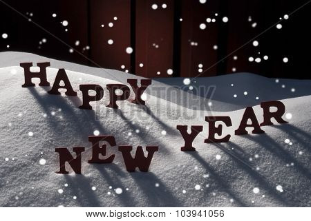 Christmas Card With Snow, Happy New Year, Snowflakes