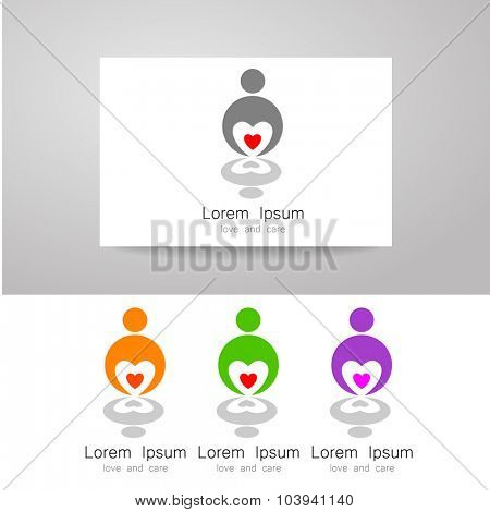 Sign of of love and caring. Template design for the logo of the company, organization, community. Corporate identity presentation.