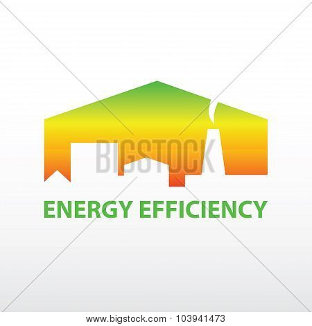 Vector logo with symbols of plant, houses, resources and energy.