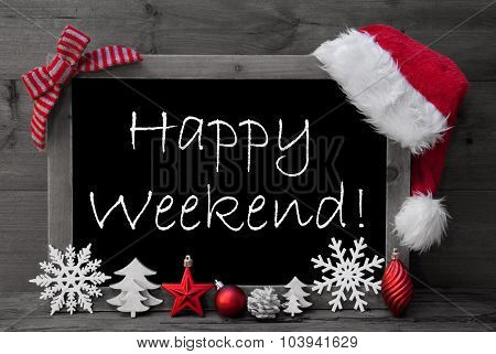 Blackboard Santa Hat Christmas Decoration Happy Weekend