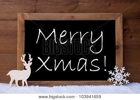 Christmas Card, Blackboard, Snow, Reindeer, Merry Xmas