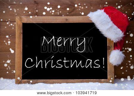 Card, Chalkboard, Merry Christmas, Snowflakes, Snow