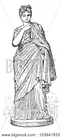 Young Roman Woman, vintage engraved illustration.