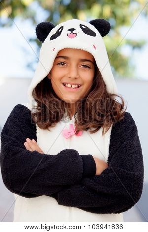 Funny girl dressed in a bear costume