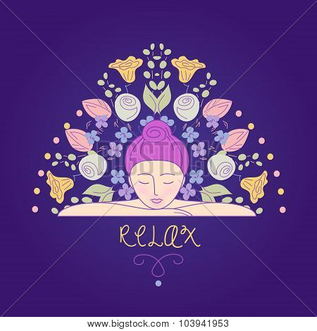 Vector illustration. Woman resting her head on his hands. Relaxa