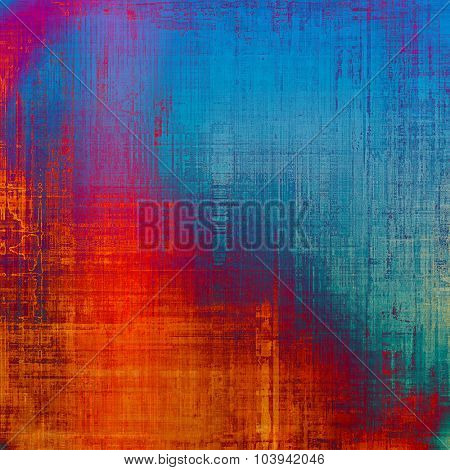 Old grunge background with delicate abstract texture and different color patterns: blue; red (orange); purple (violet); cyan