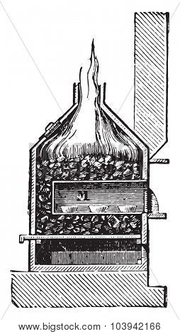 Cupellation furnace, vintage engraved illustration. Industrial encyclopedia E.-O. Lami - 1875.