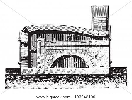 Reverberatory furnace vertical section, vintage engraved illustration. Industrial encyclopedia E.-O. Lami - 1875.