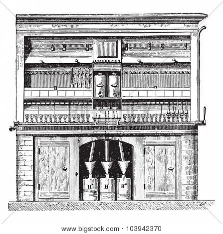 MM Peligot device and Theft, for gold testing, vintage engraved illustration. Industrial encyclopedia E.-O. Lami - 1875.