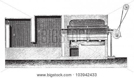 Fire pit, vintage engraved illustration. Industrial encyclopedia E.-O. Lami - 1875.