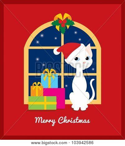 Christmas Cat On The Window