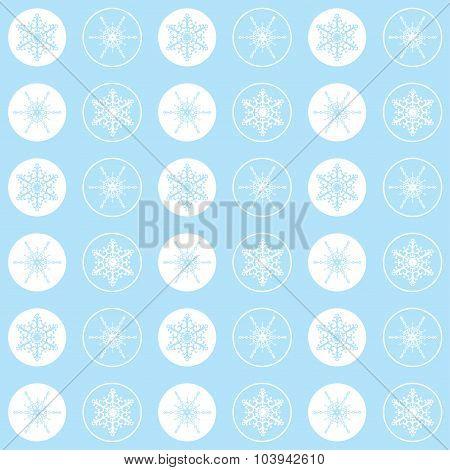 Pattern Snowflakes Light Cyan
