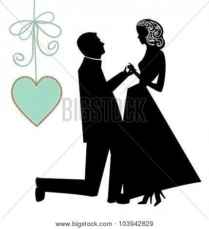 Proposal - man on bended knee and woman and heart