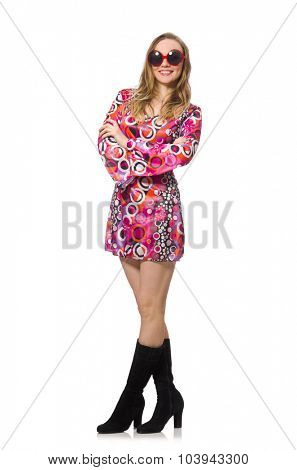 Pretty girl in dress with pink prints isolated on white