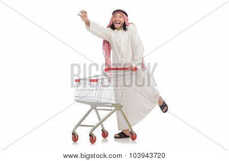 Arab man doing shopping isolated on white