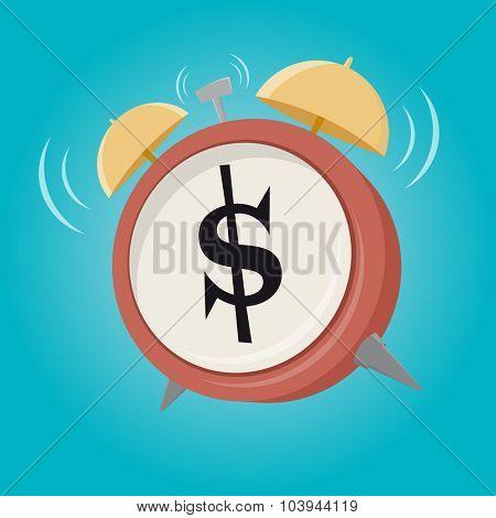dollar sign cartoon alarm clock