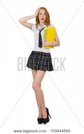 Young shocked student female isolated on white